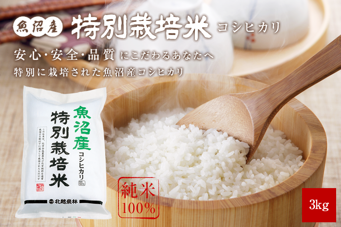 魚沼産コシヒカリ 特別栽培米3kg(3kg×1袋)
